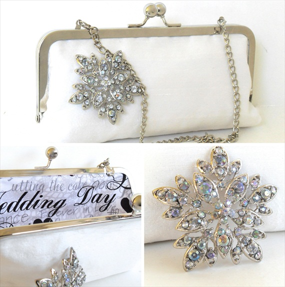 brooch clutch purse