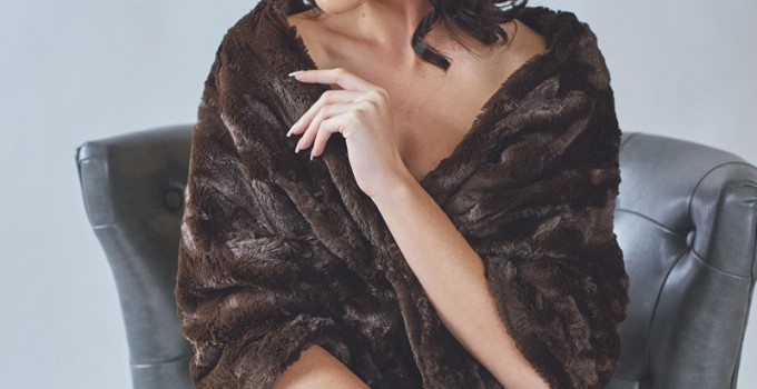 brown faux fur bridal stole