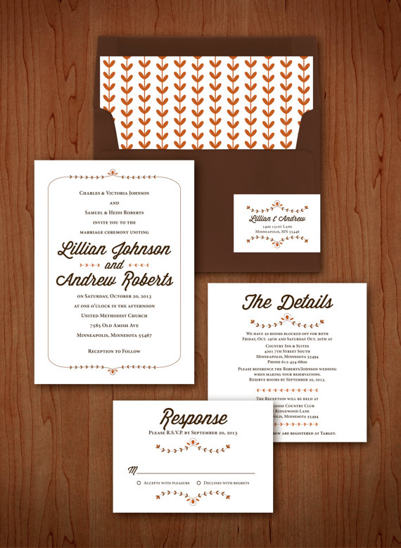 brown red folk wedding invitations
