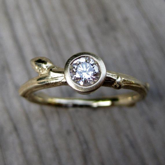 budding twig diamond engagement ring with twig style band
