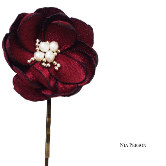 veil alternatives: #1 flower hair pins (by nia person via emmaline bride) #handmade #wedding #hair - burgundy hair flower pin