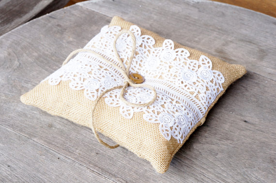burlap and lace vintage ring pillows