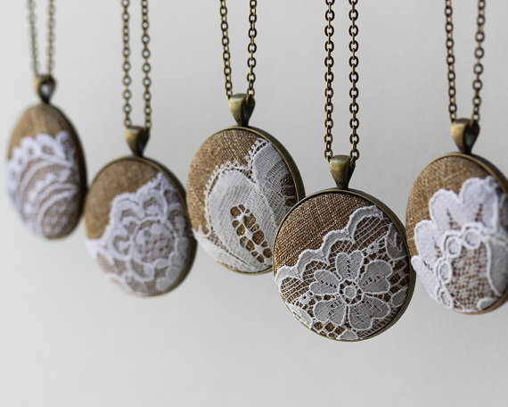 burlap and lace wedding necklaces