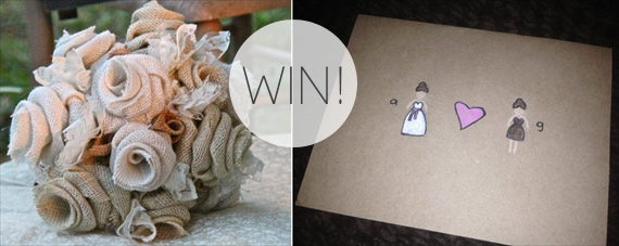 burlap wedding bouquets giveaway with cards (bouquet by jane's daughters, cards by the piecemeal shoppe)