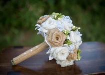 burlap bouquet side view