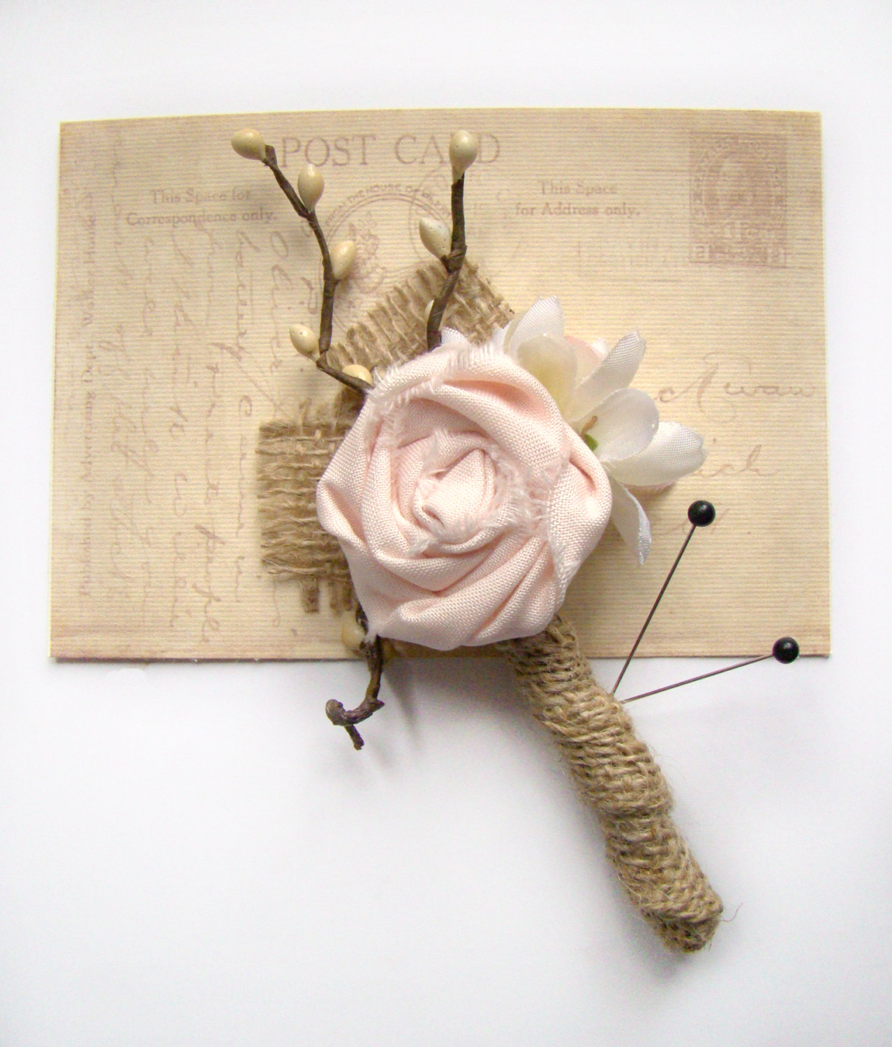 burlap boutonniere pink | 50 Best Burlap Wedding Ideas | via http://emmalinebride.com/decor/burlap-wedding-ideas/