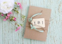 burlap covered guest book