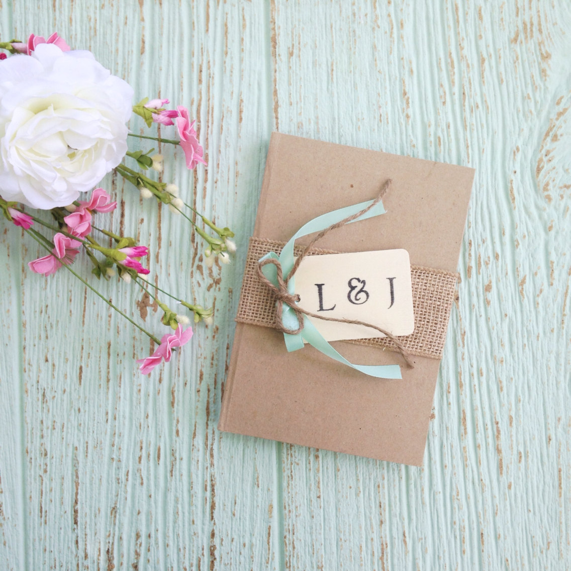 burlap covered guest book | 50 Best Burlap Wedding Ideas | via http://emmalinebride.com/decor/burlap-wedding-ideas/