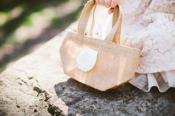 Burlap Flower Girl Bag (by Belle Rose Designs, photo by Beth Insalaco) - What Does a Flower Girl Do? via EmmalineBride.com