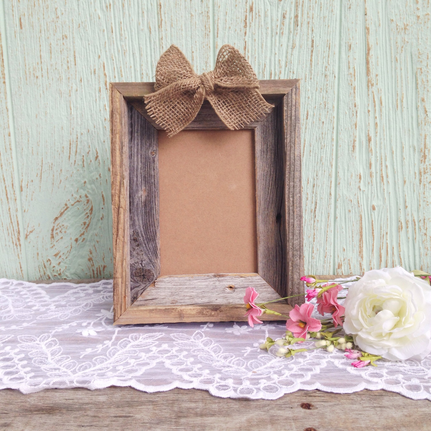 burlap photo frame | 50 Best Burlap Wedding Ideas | via http://emmalinebride.com/decor/burlap-wedding-ideas/