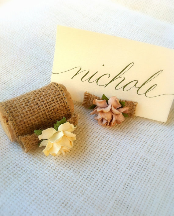 burlap place card holders