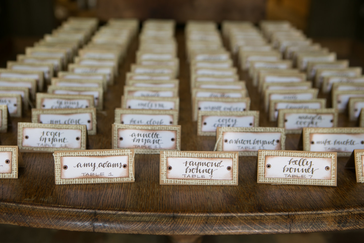 burlap place cards | 50 Best Burlap Wedding Ideas | via http://emmalinebride.com/decor/burlap-wedding-ideas/