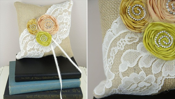 burlap ring pillow with rosettes