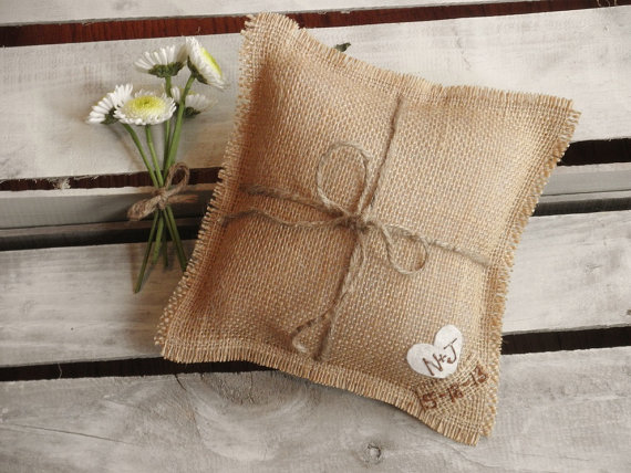 burlap ring pillow