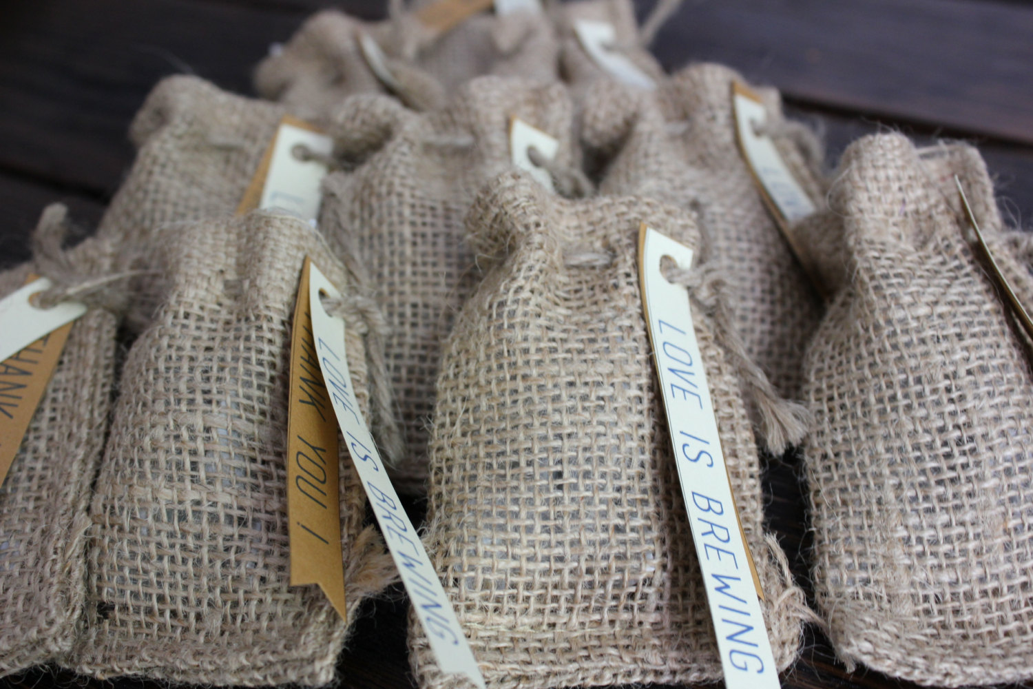 burlap tea bag favors | 50 Best Burlap Wedding Ideas | via http://emmalinebride.com/decor/burlap-wedding-ideas/