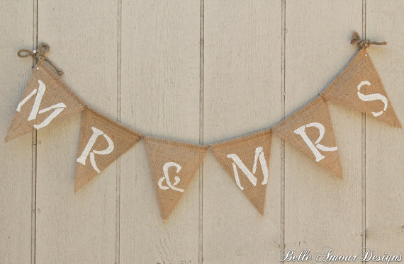 Burlap Wedding Banners - mr & mrs