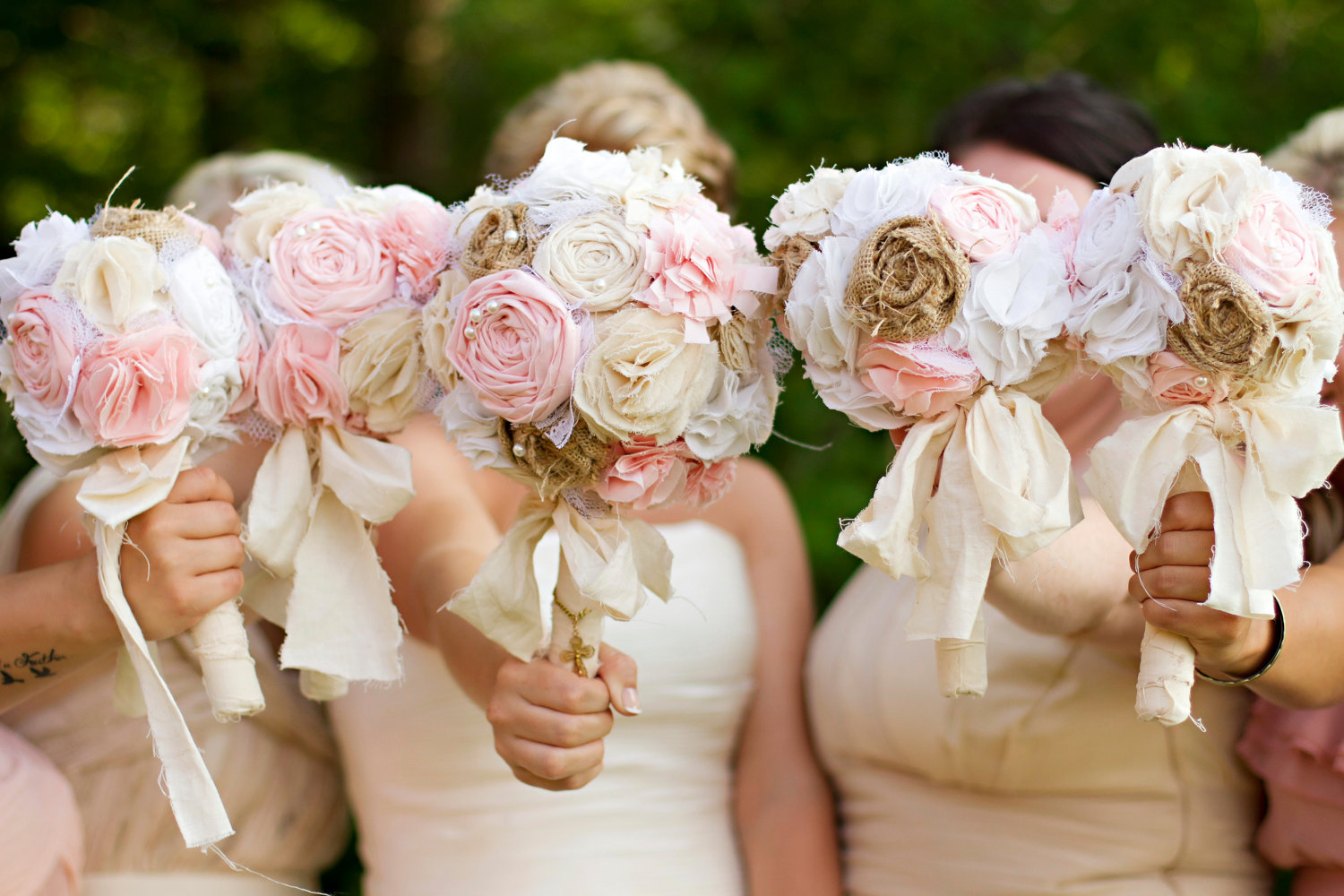 burlap wedding bouquets | 50 Best Burlap Wedding Ideas | via http://emmalinebride.com/decor/burlap-wedding-ideas/