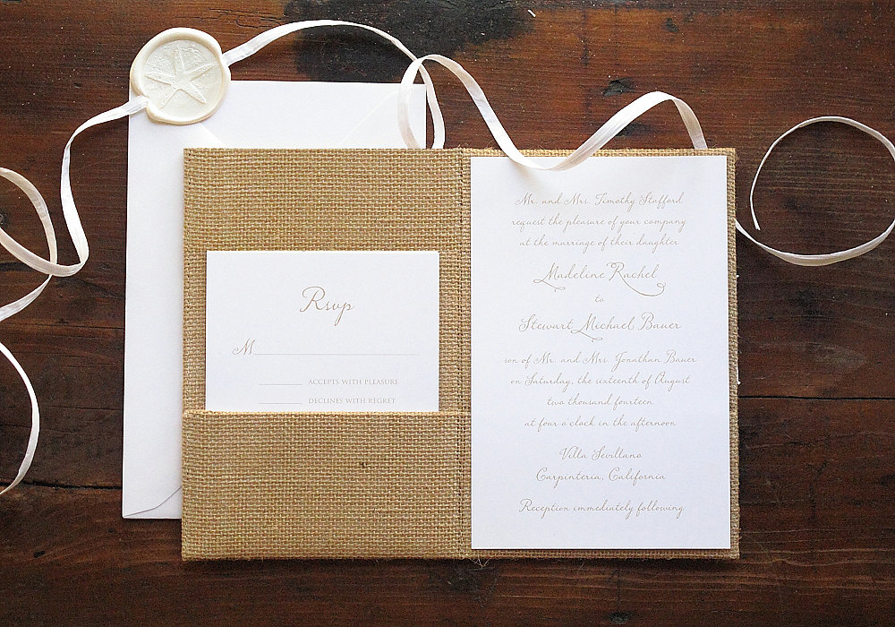 burlap wedding invitations | 50 Best Burlap Wedding Ideas | via http://emmalinebride.com/decor/burlap-wedding-ideas/