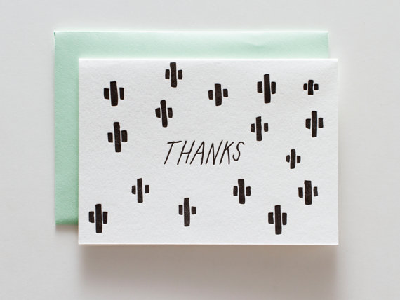 cactus thank you notes by iron curtain press