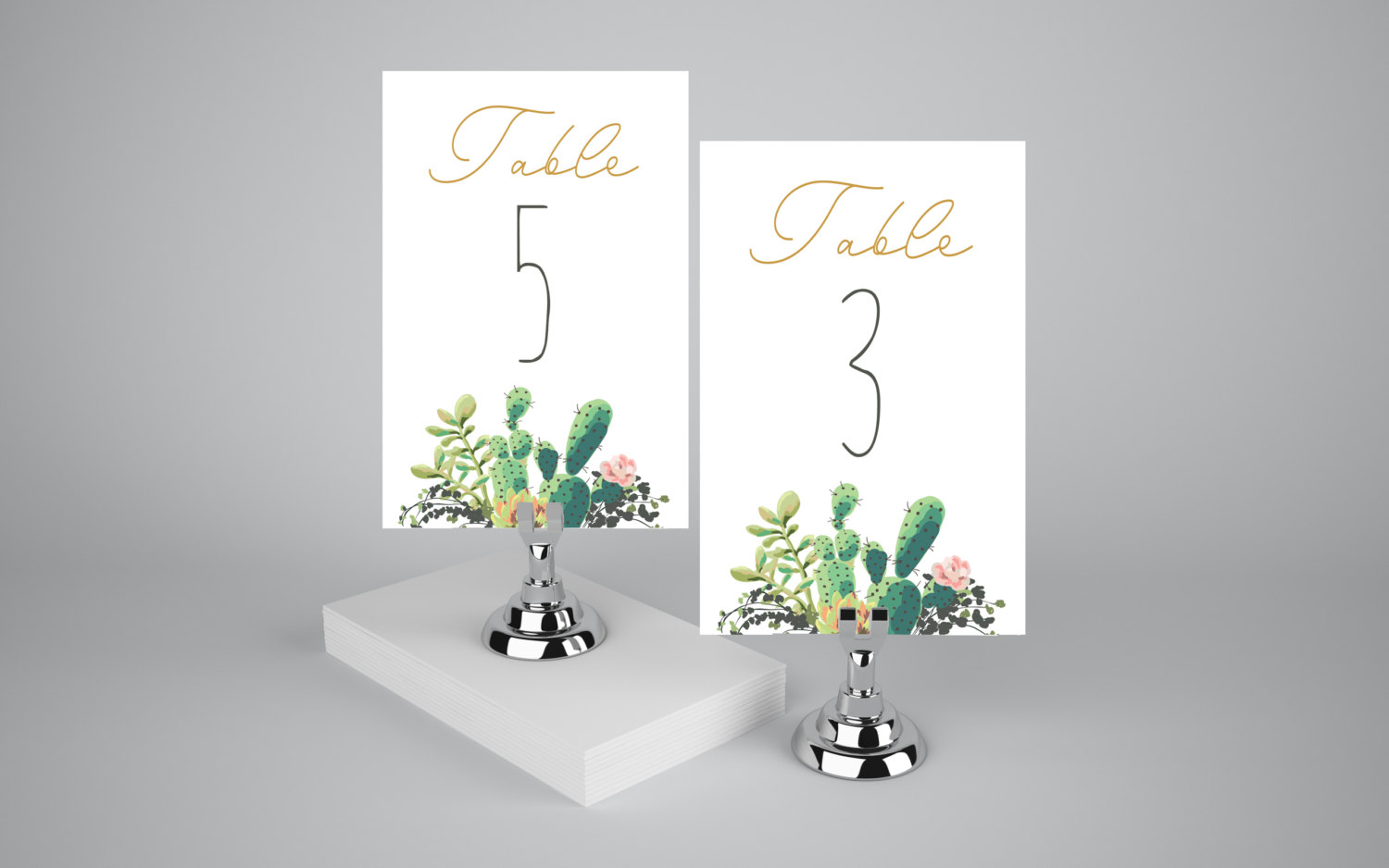 cactus weddings table numbers by lisagraphicdesign