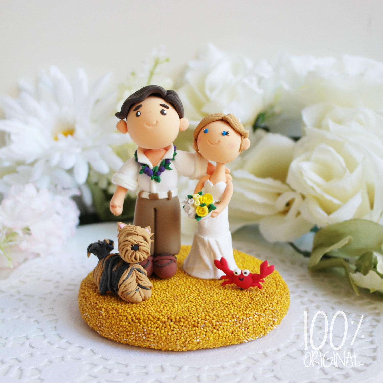 cake topper beach wedding yorkie - 9 Adorable Custom Made Cake Toppers via http://emmalinebride.com/decor/custom-made-cake-toppers/