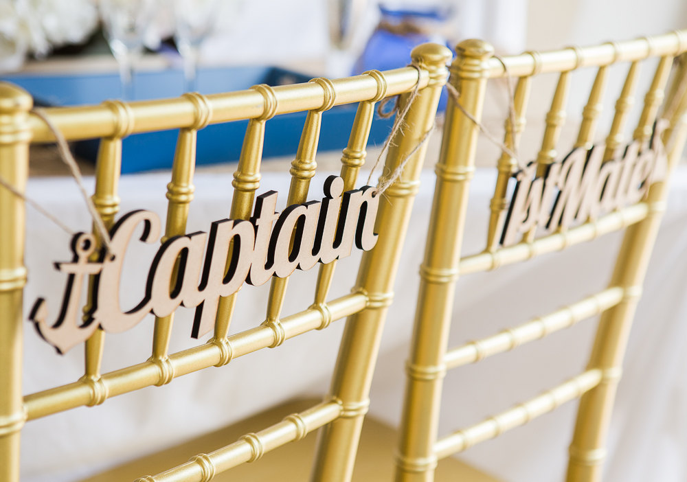 captain and mate chair signs | via bride and groom chair signs http://emmalinebride.com/decor/bride-and-groom-chairs/
