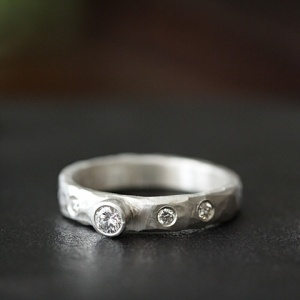 carved rustic diamond ring 2