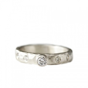 carved rustic diamond ring