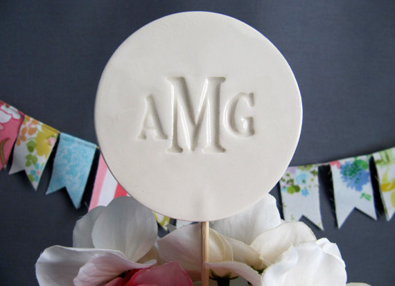 ceramic monogram cake topper