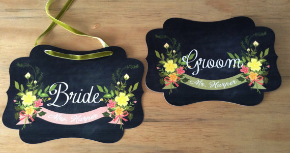 chair signs chalkboard | via bride and groom chair signs http://emmalinebride.com/decor/bride-and-groom-chairs/