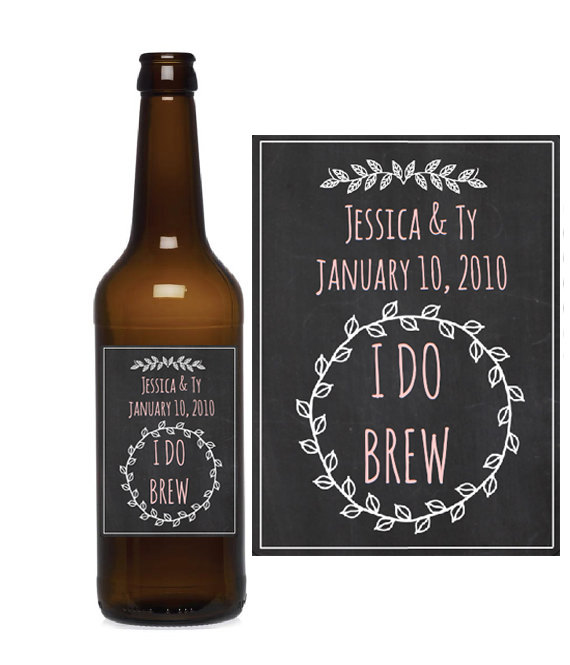 chalkboard wedding beer labels