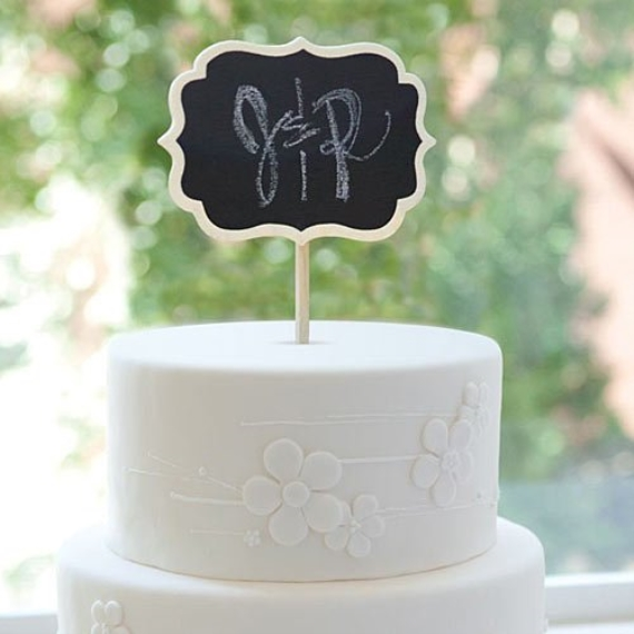 chalkboard wedding cake topper