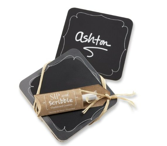 chalkboard wedding coasters