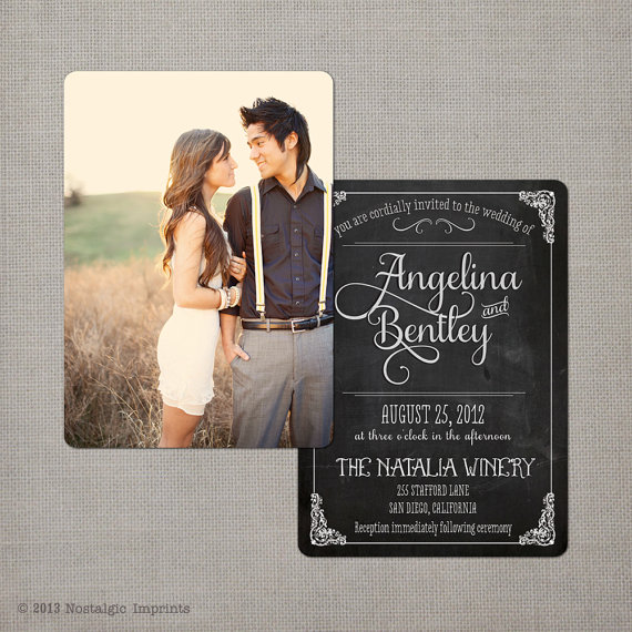 14 Chalkboard Wedding Ideas - chalkboard wedding invitations (by nostalgic imprints)