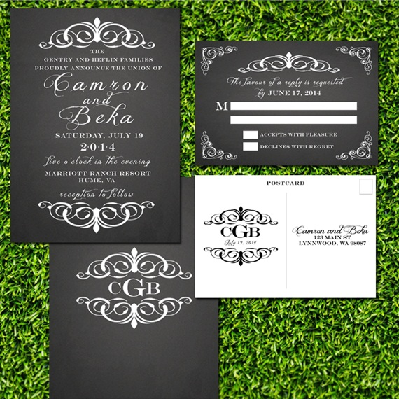 chalkboard style wedding invitations