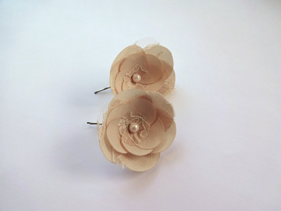 champagne hair pins - flower pins by hair blossoms boutique