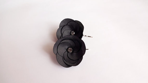 charcoal gray flower hair pins - flower pins by hair blossoms boutique