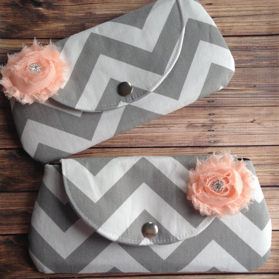 Gray and White Chevron Clutch