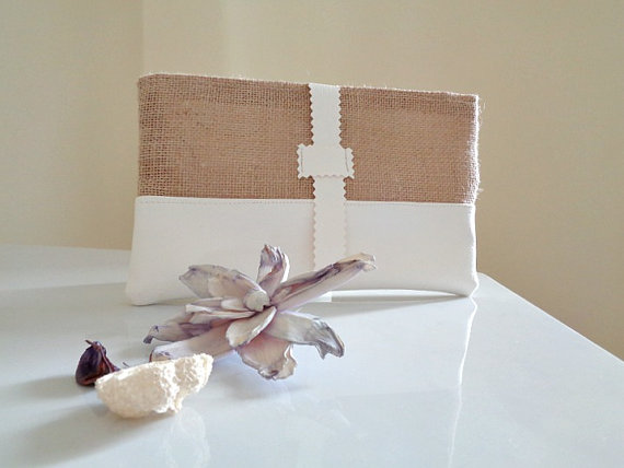chic burlap bridal clutch