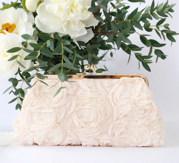 chiffon flower clutch | flower bags clutches weddings by ANGEE W.