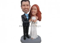 classy wedding cake topper bobblehead top