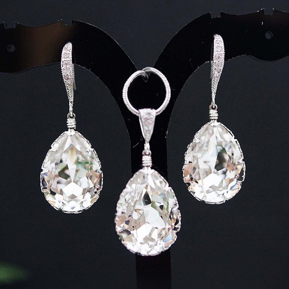 clear white swarovski bridal jewelry set