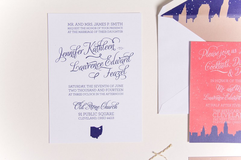 Cute Skyline Wedding Invitations | by Sparkvites | http://emmalinebride.com/invites/skyline-wedding-invitations/