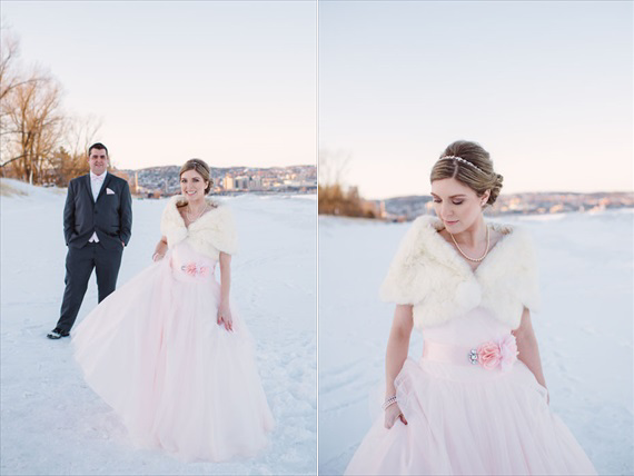 LaCoursiere Photography - bride and groom in the snow