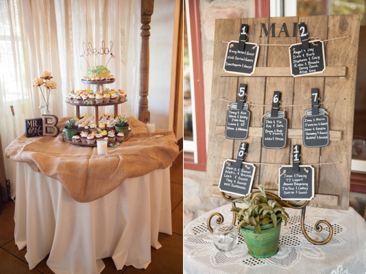 Rustic Chic DIY Vintage Wedding Hagerty Photography Sterling Weddings cupcake table, seating numbers chalkboard