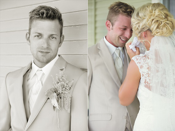 KimAnne Photography - iowa-backyard-wedding - groom ready-with-bride-first-look