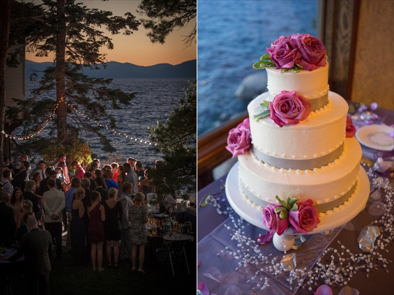 Johnstone Studios - thunderbird lodge wedding - wedding cake and reception overlooking lake tahoe