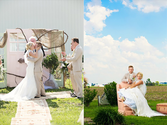 KimAnne Photography - iowa-backyard-wedding - bride-groom-married-chair-field