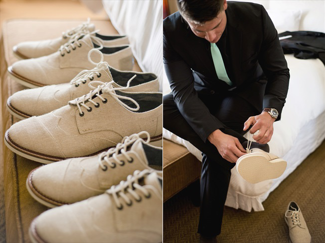 on left, the groomsmen shoes are lined up in a row featuring a lace-up style; on right, the groom puts his shoes on