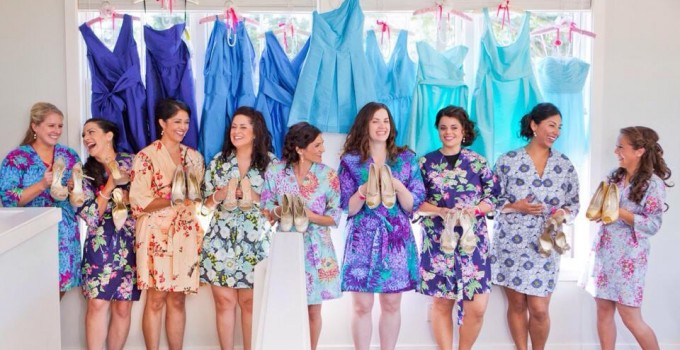 colorful bridesmaid robes to suit her personality